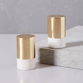 Marble + Brass Salt + Pepper Shaker Set