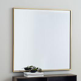 Metal Framed 107 cm Square Mirror - Antique Brass