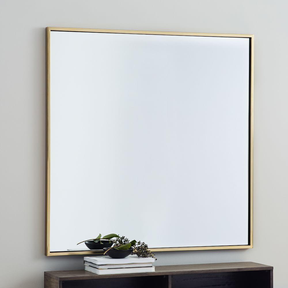 Metal Framed 107 cm Square Mirror - Antique Brass