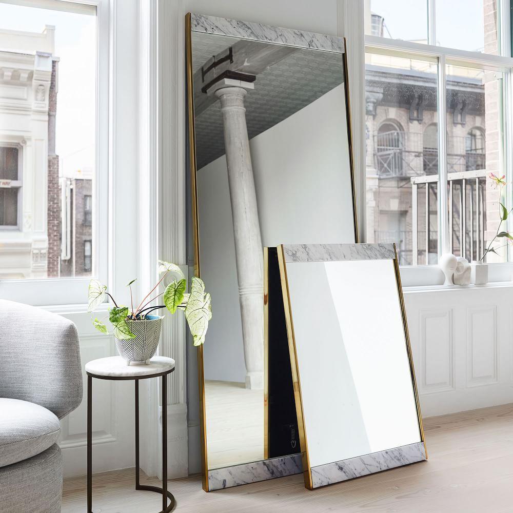Marble + Brass Floor Mirror | west elm UK