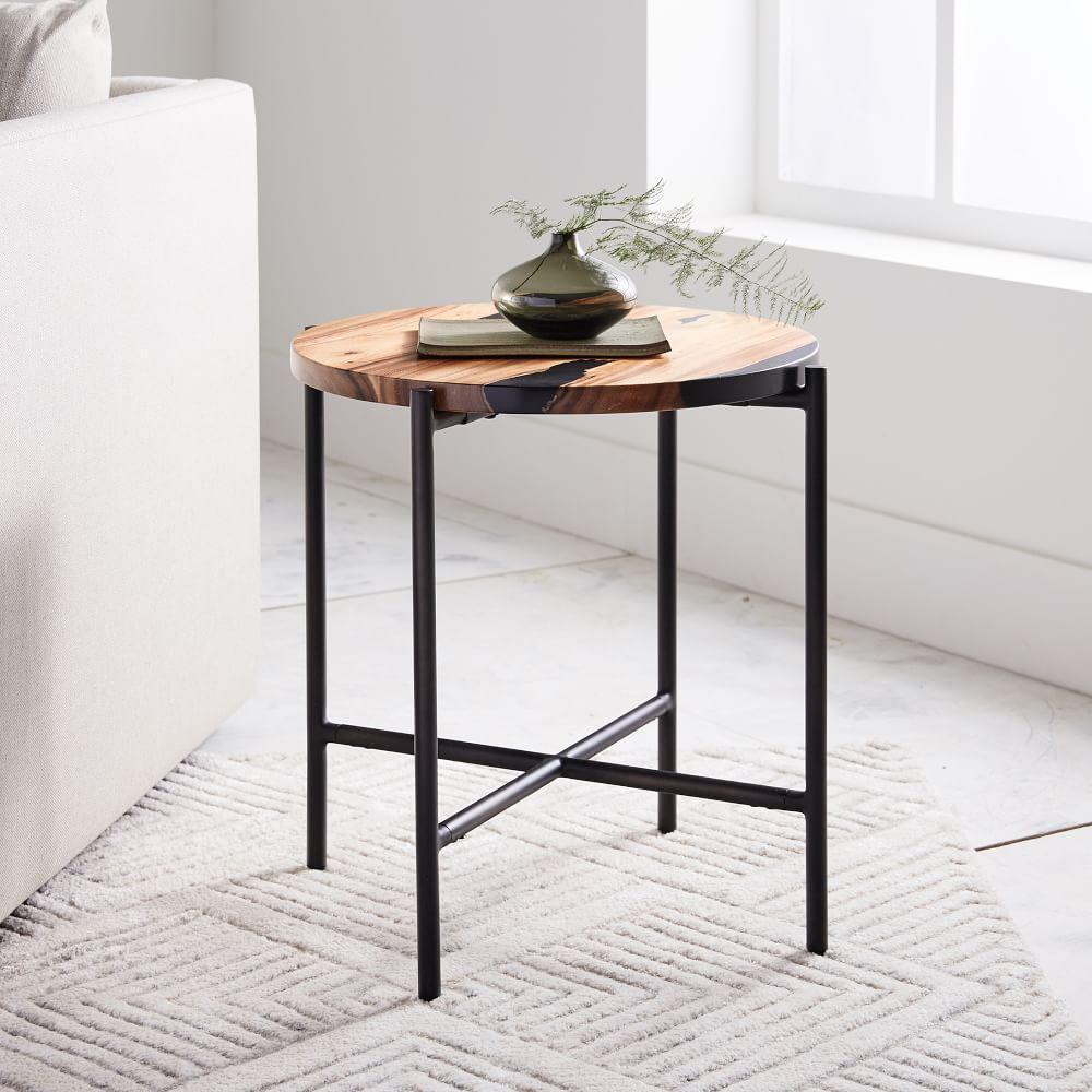 wood resin round side table west elm uk. Black Bedroom Furniture Sets. Home Design Ideas
