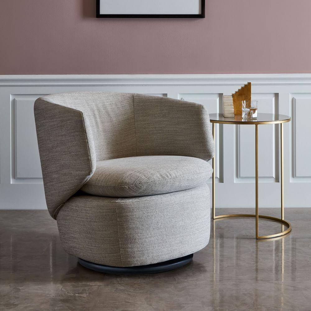 Crescent Swivel Chair - Feather Grey