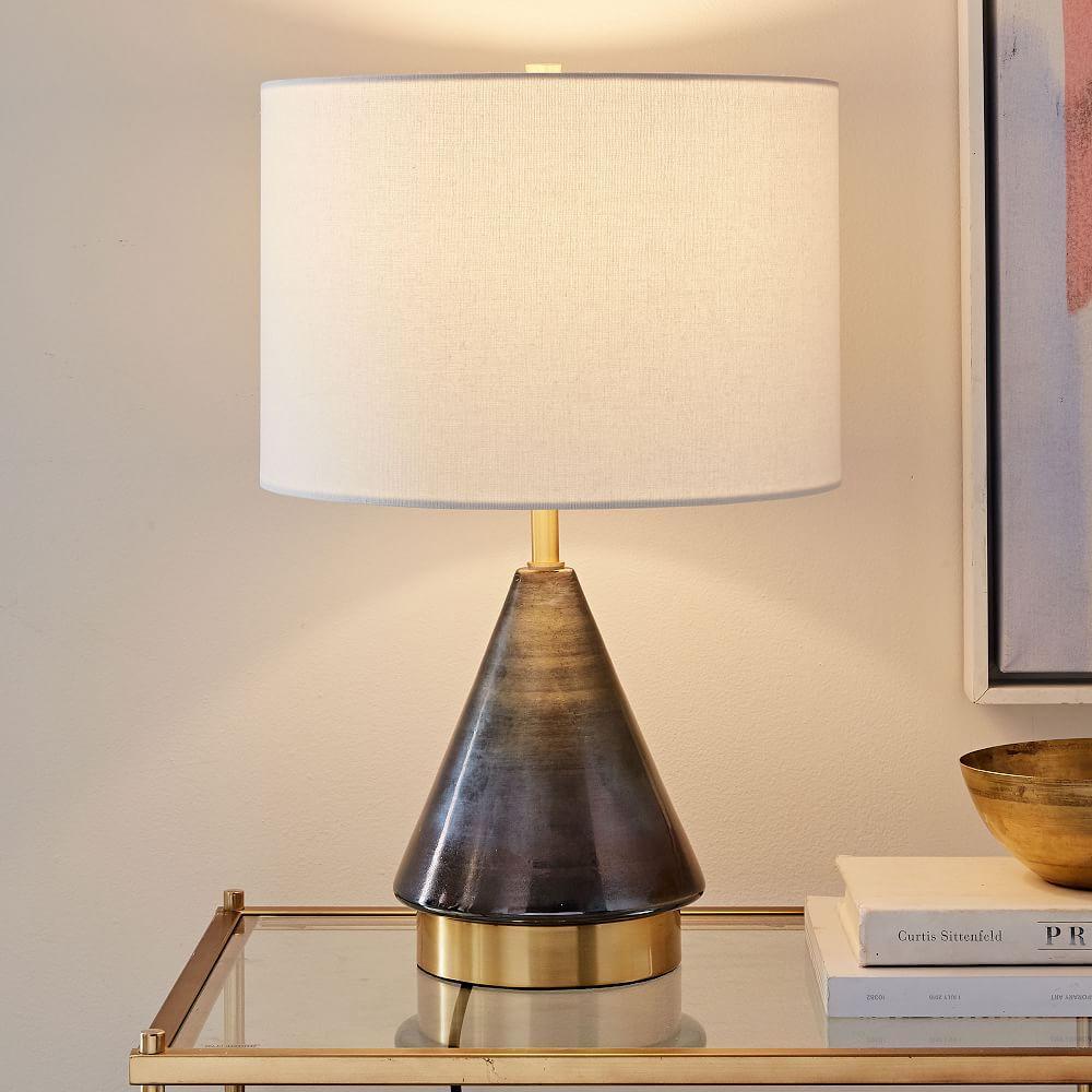 Metalised Glass Table Lamp + USB - Small (Grey)