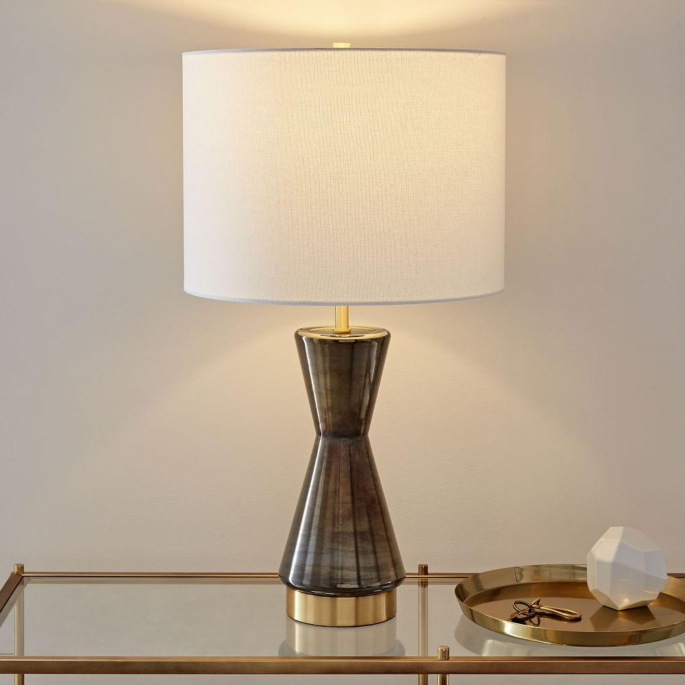 Metalized Glass Table Lamp + USB - Large (Grey)