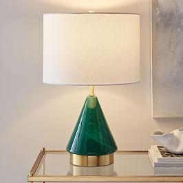 Metalised Glass Table Lamp + USB - Small (Green)