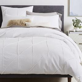 Organic Pleated Grid Quilt Cover + Pillowcases - White