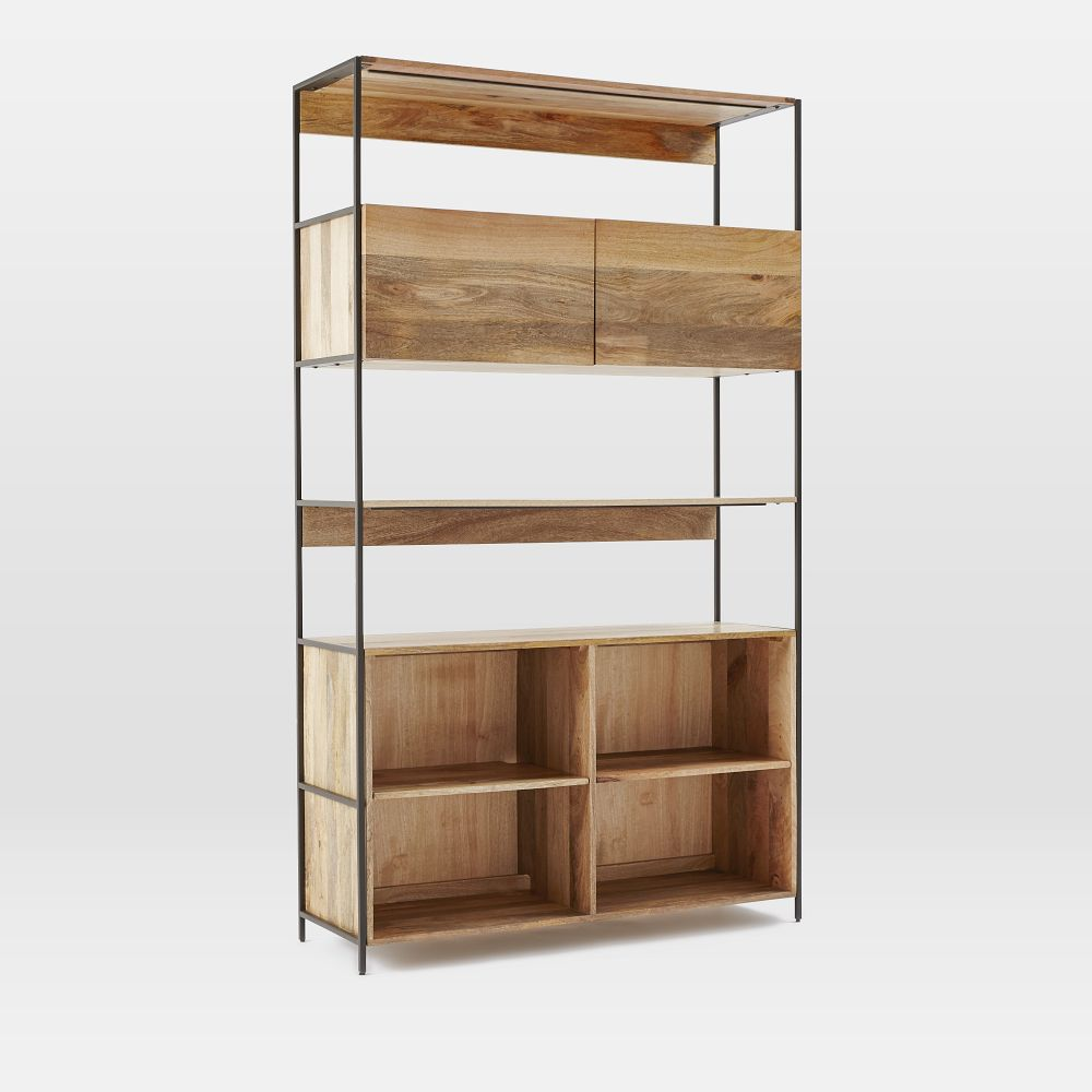 Industrial modular 124 cm open closed storage west elm uk Open shelving
