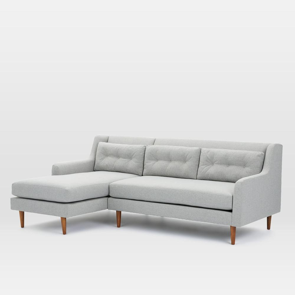 Crosby 2-Piece Chaise Sectional - Feather Grey (Heathered Crosshatch)