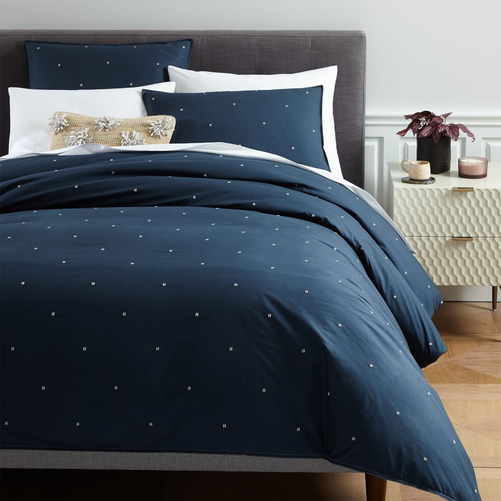 Organic Washed Cotton Duvet Cover + Pillowcases - Shadow Blue
