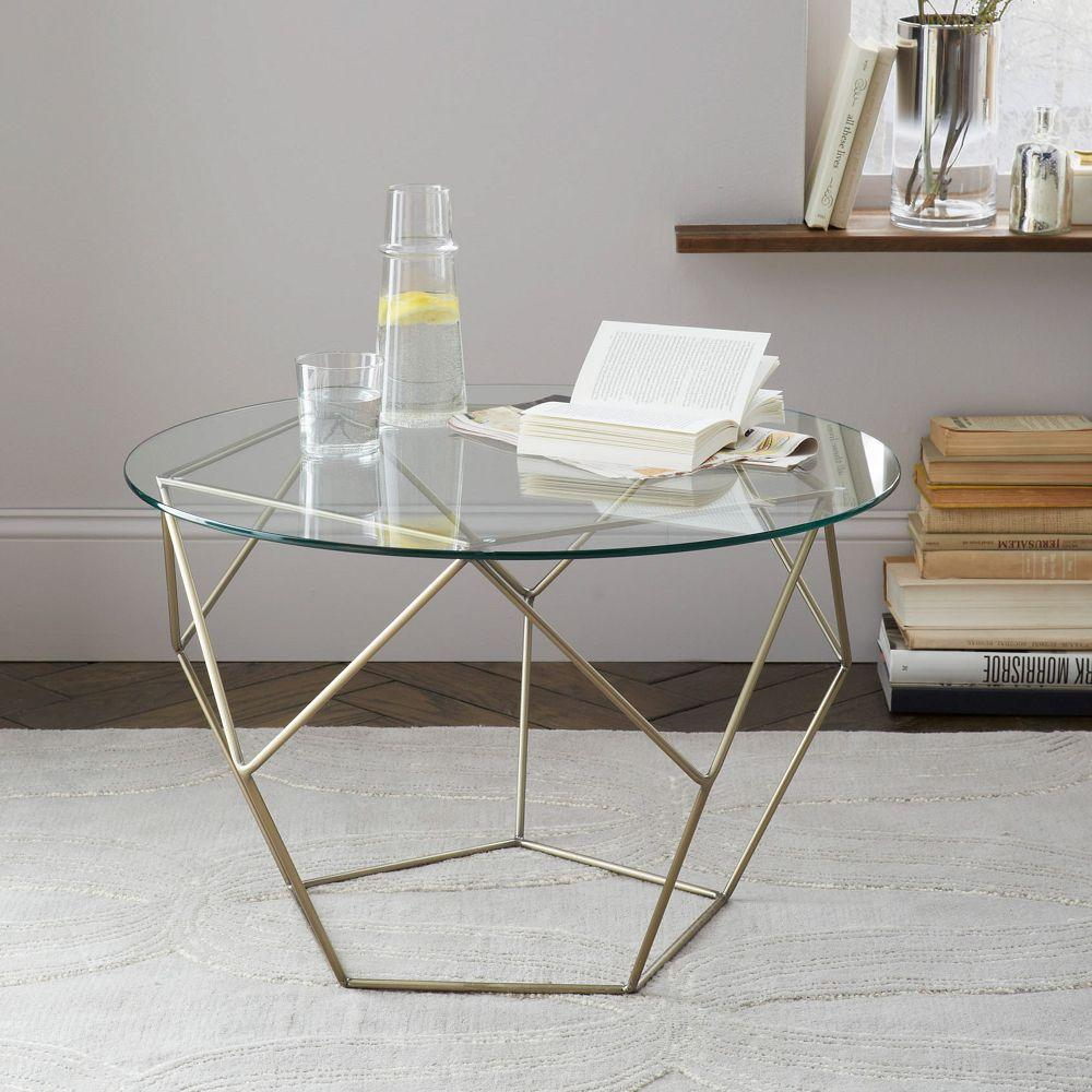 Origami Coffee Table - Glass/Antique Brass