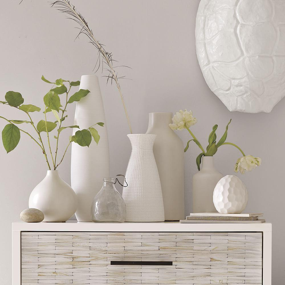 Pure white ceramic vases west elm uk for Bathroom decor vases