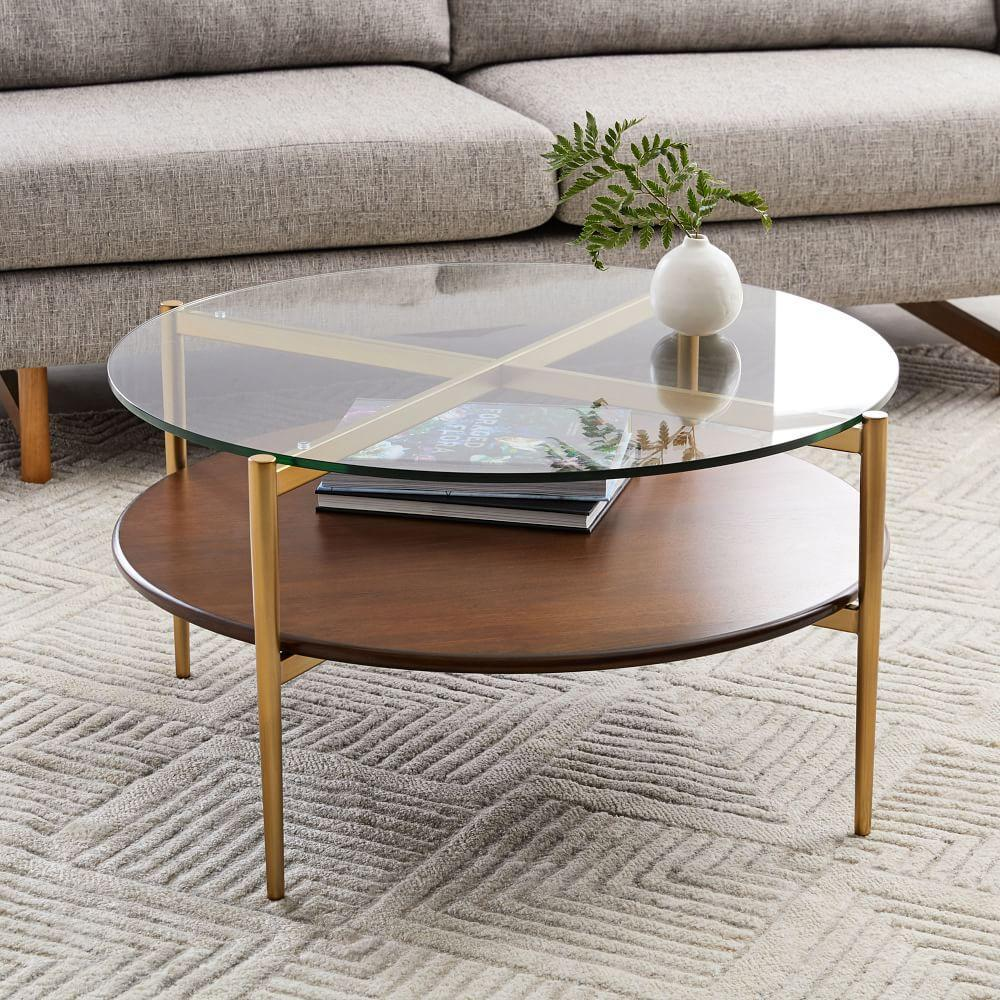 Round Coffee Table With Storage Singapore: Mid-Century Art Display Round Coffee Table