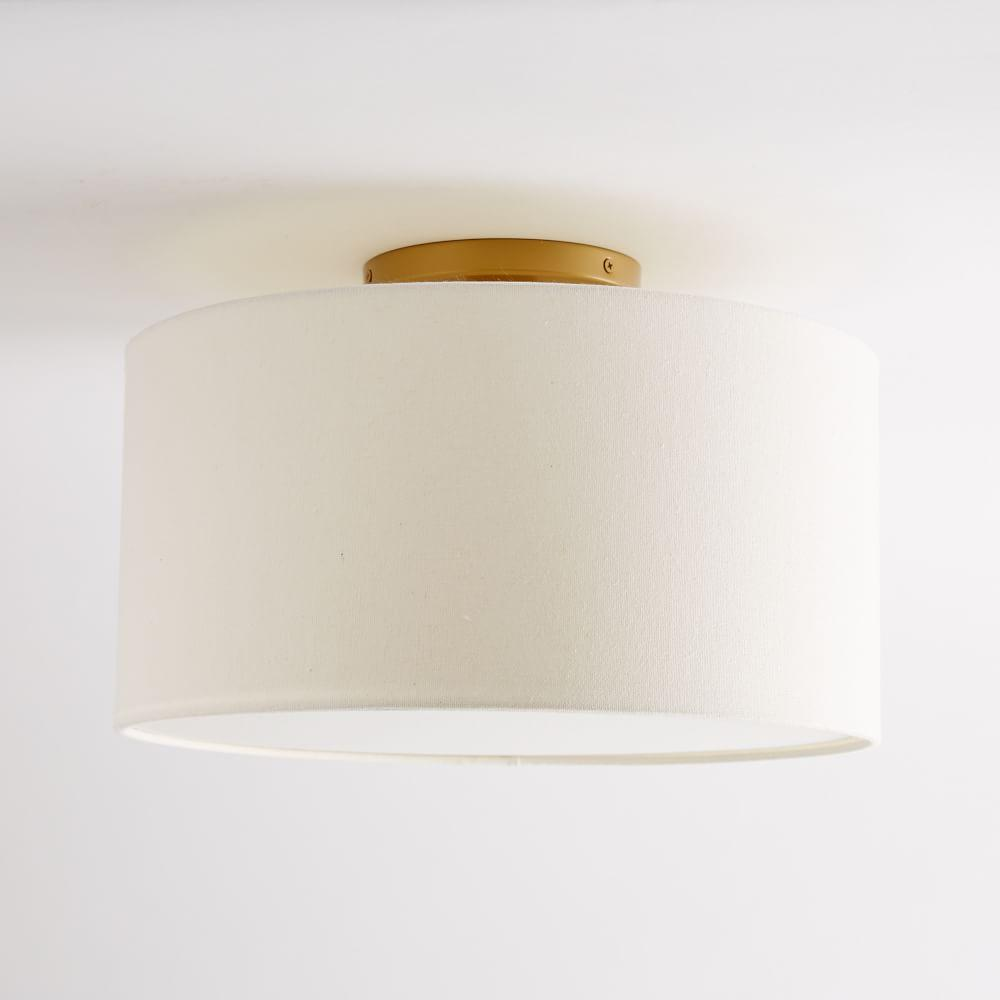 Fabric Shade Flushmount - Drum (White)