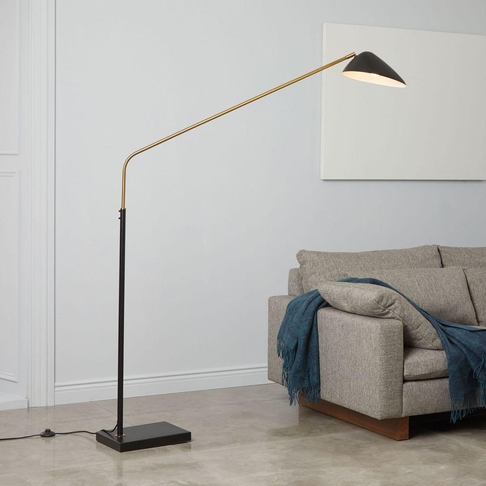West Elm Lamps: Overarching Curvilinear Mid-Century Floor Lamp