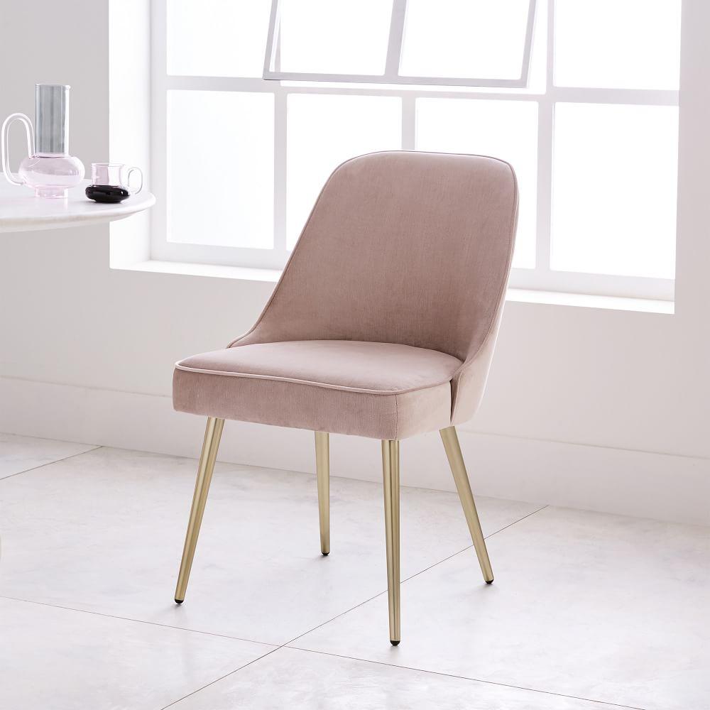 Mid Century Upholstered Dining Chair Velvet West Elm Uk
