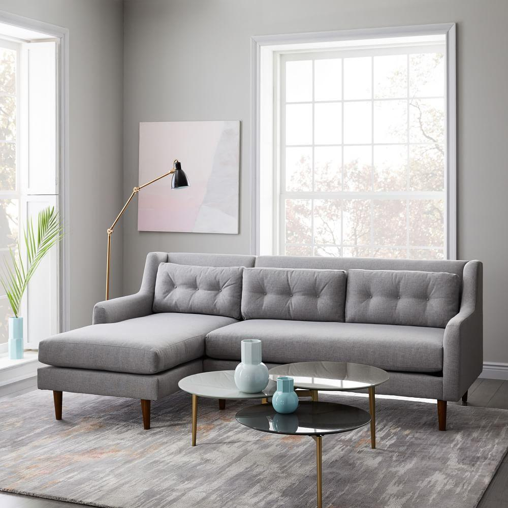Crosby 2 Piece Chaise Sectional Feather Grey Heathered