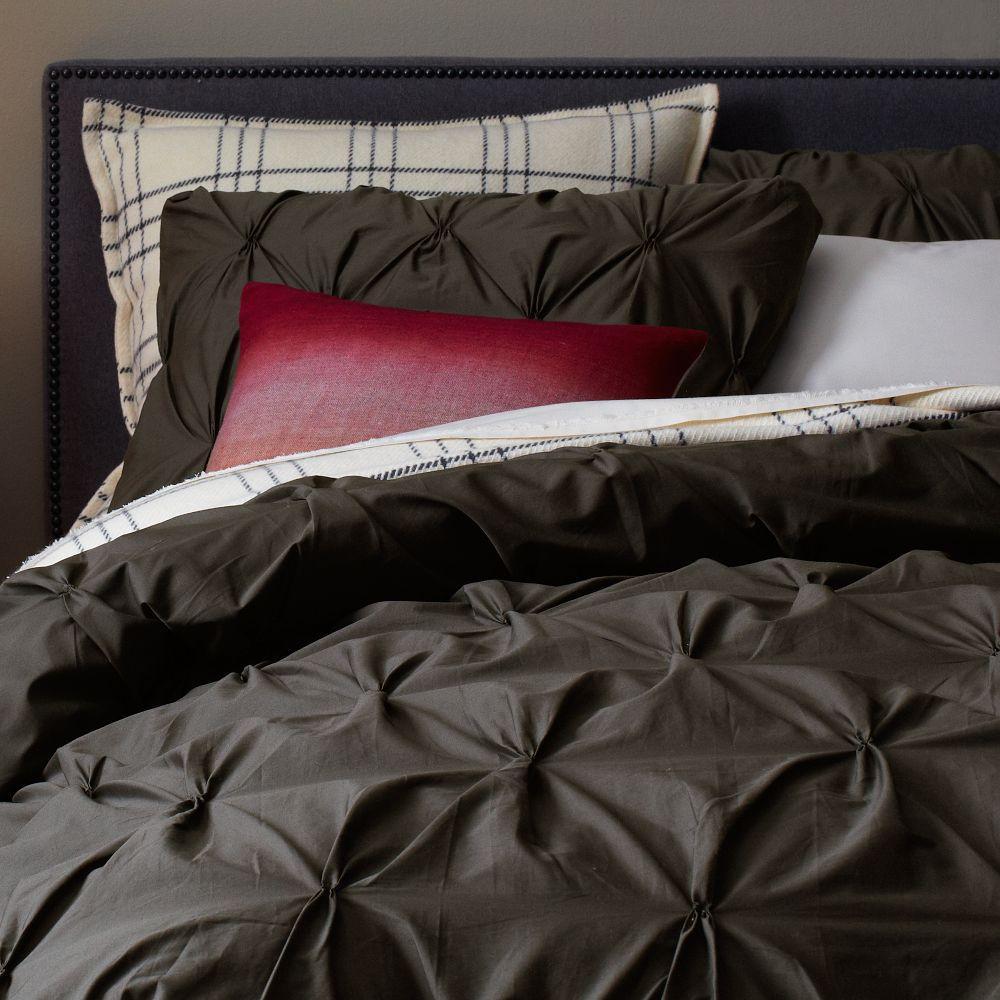 organic cotton pintuck duvet cover pillowcases slate. Black Bedroom Furniture Sets. Home Design Ideas