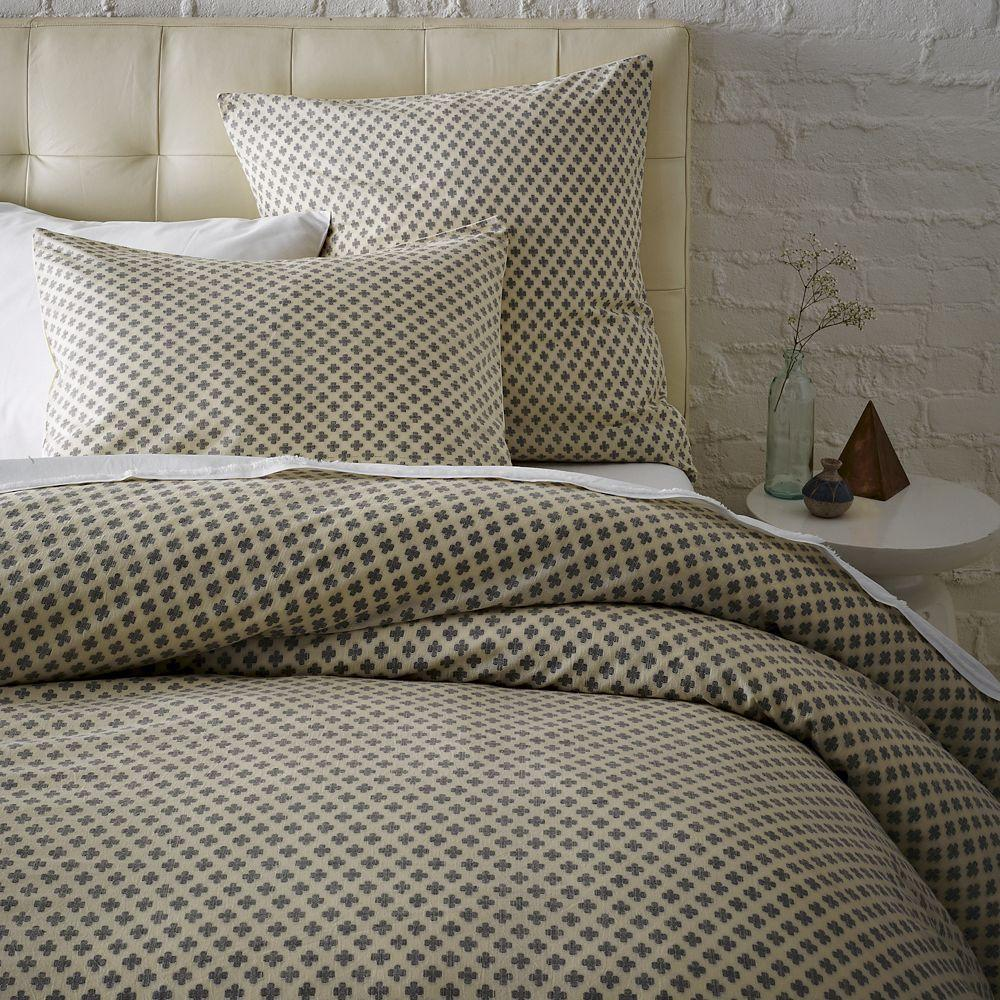 Jacquard Leaf Duvet Cover Pillowcases Onyx