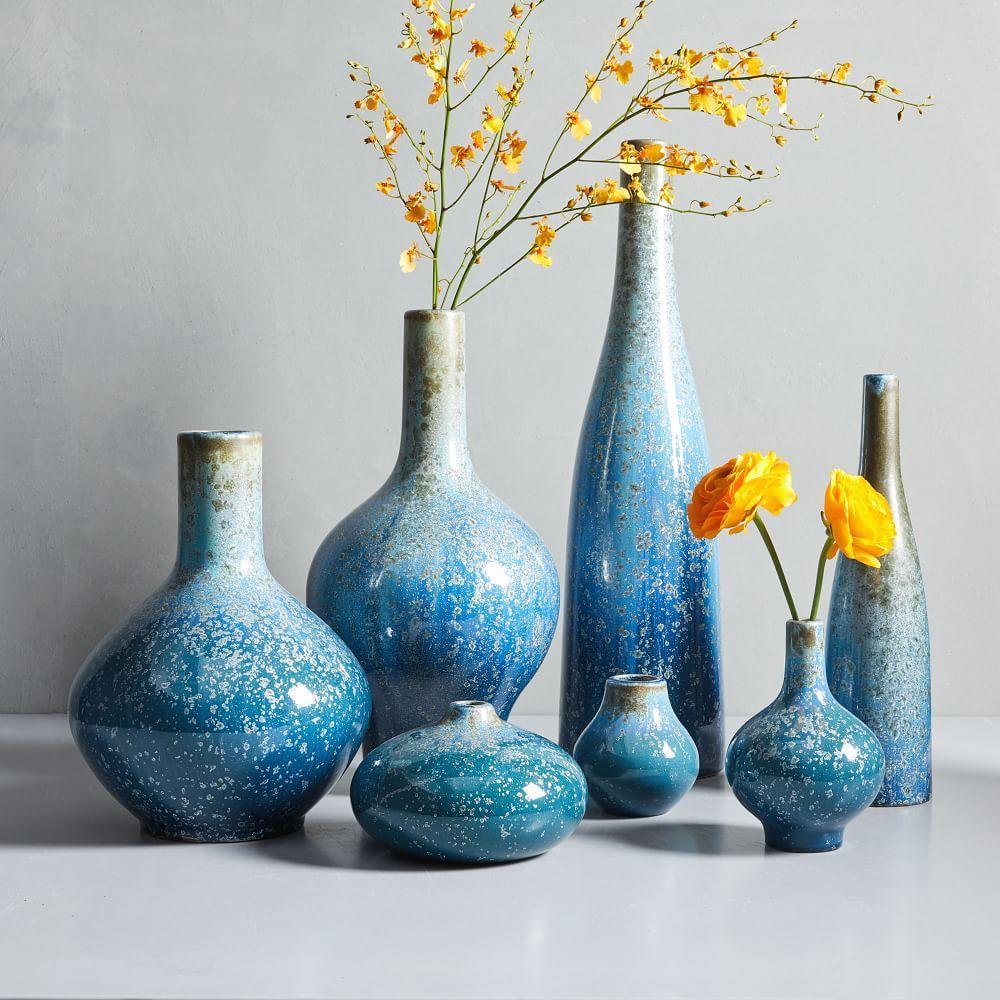 reactive glaze vases light blue west elm uk