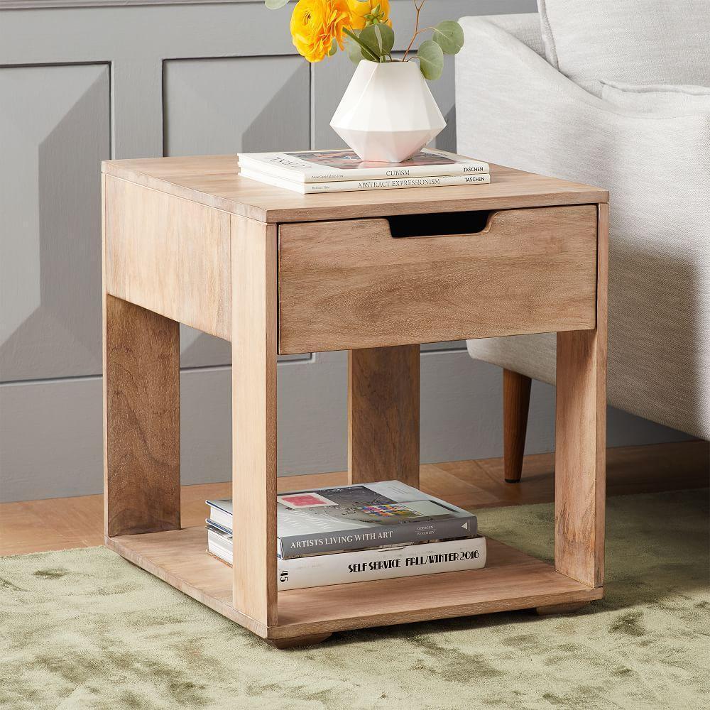 pure storage side table whitewash west elm uk. Black Bedroom Furniture Sets. Home Design Ideas