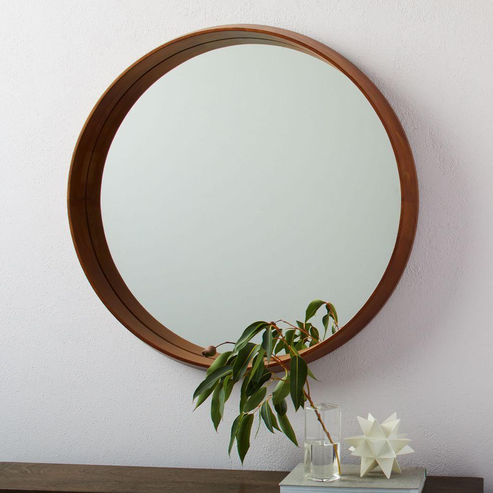 Wood Frame Ledge Round Wall Mirror | west elm UK