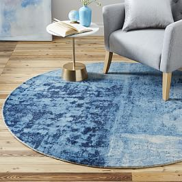 Distressed Rococo Round Wool Rug - Blue Lagoon