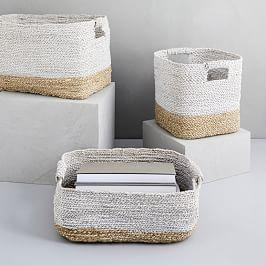 Two-Tone Woven Baskets - Natural/White