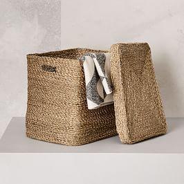 Metallic Woven Oversized Basket