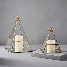Terrace Pyramid Lanterns - Antique Brass