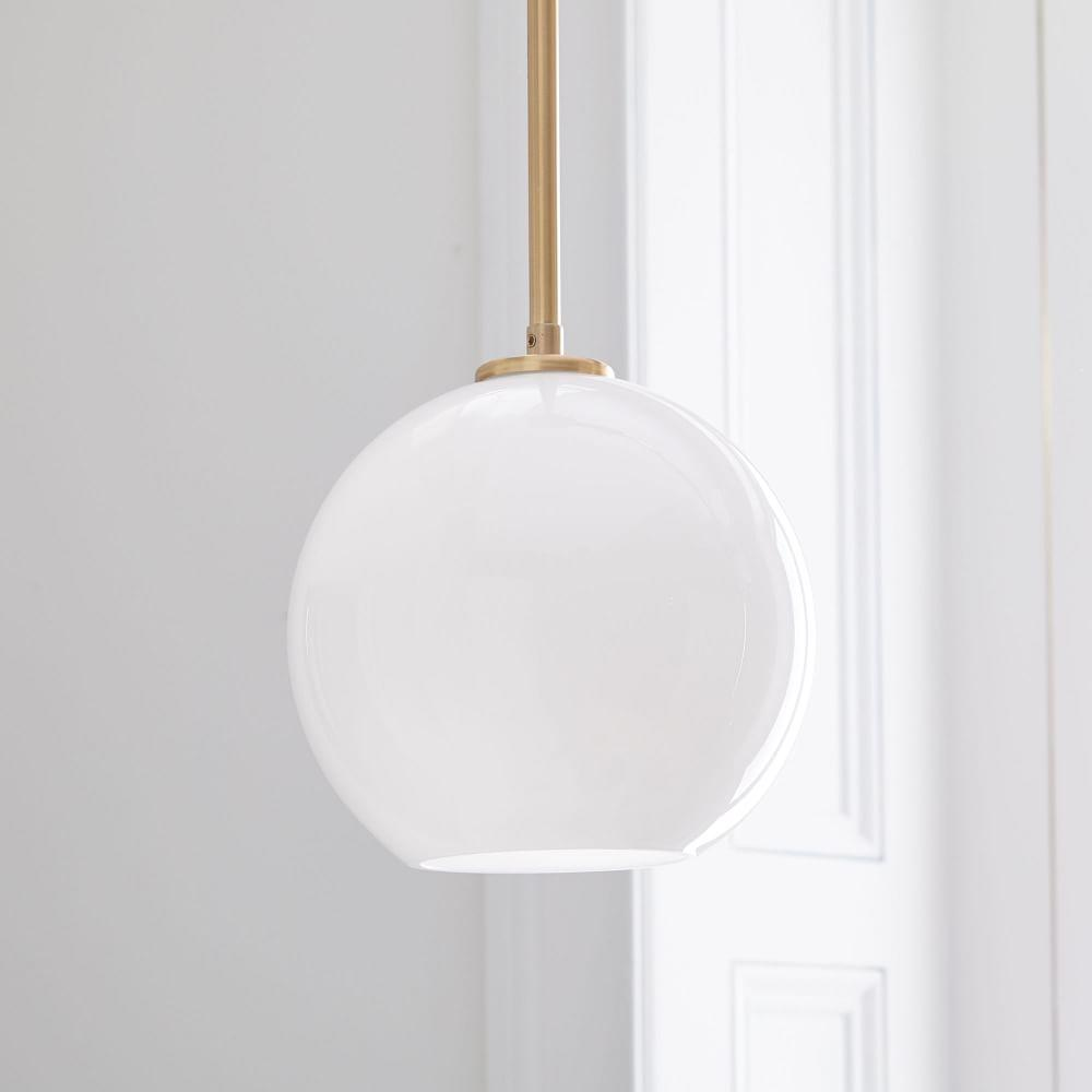 Sculptural Glass Globe Ceiling Lamp - Milk