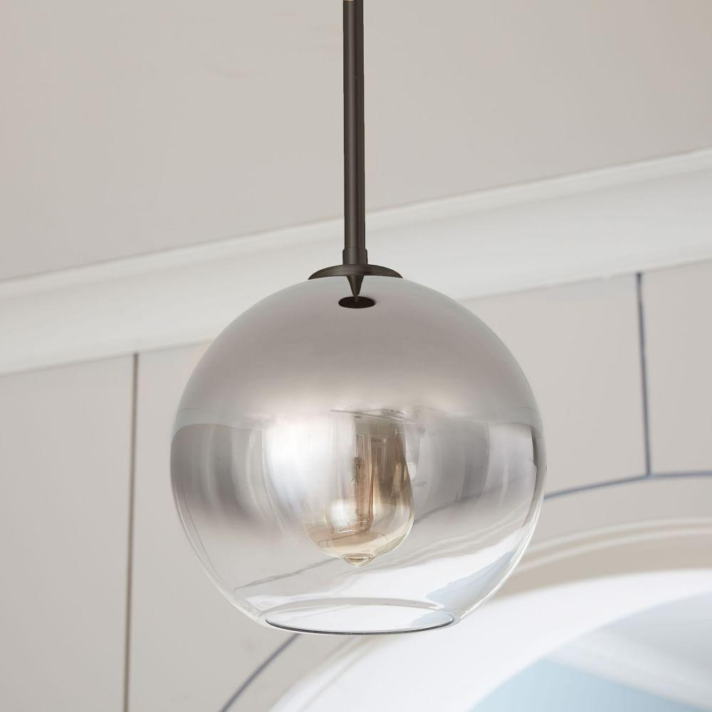 Sculptural glass globe ceiling lamp ombre