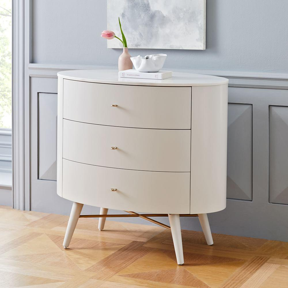Penelope 3-Drawer Chest - Oyster w/ Marble Top