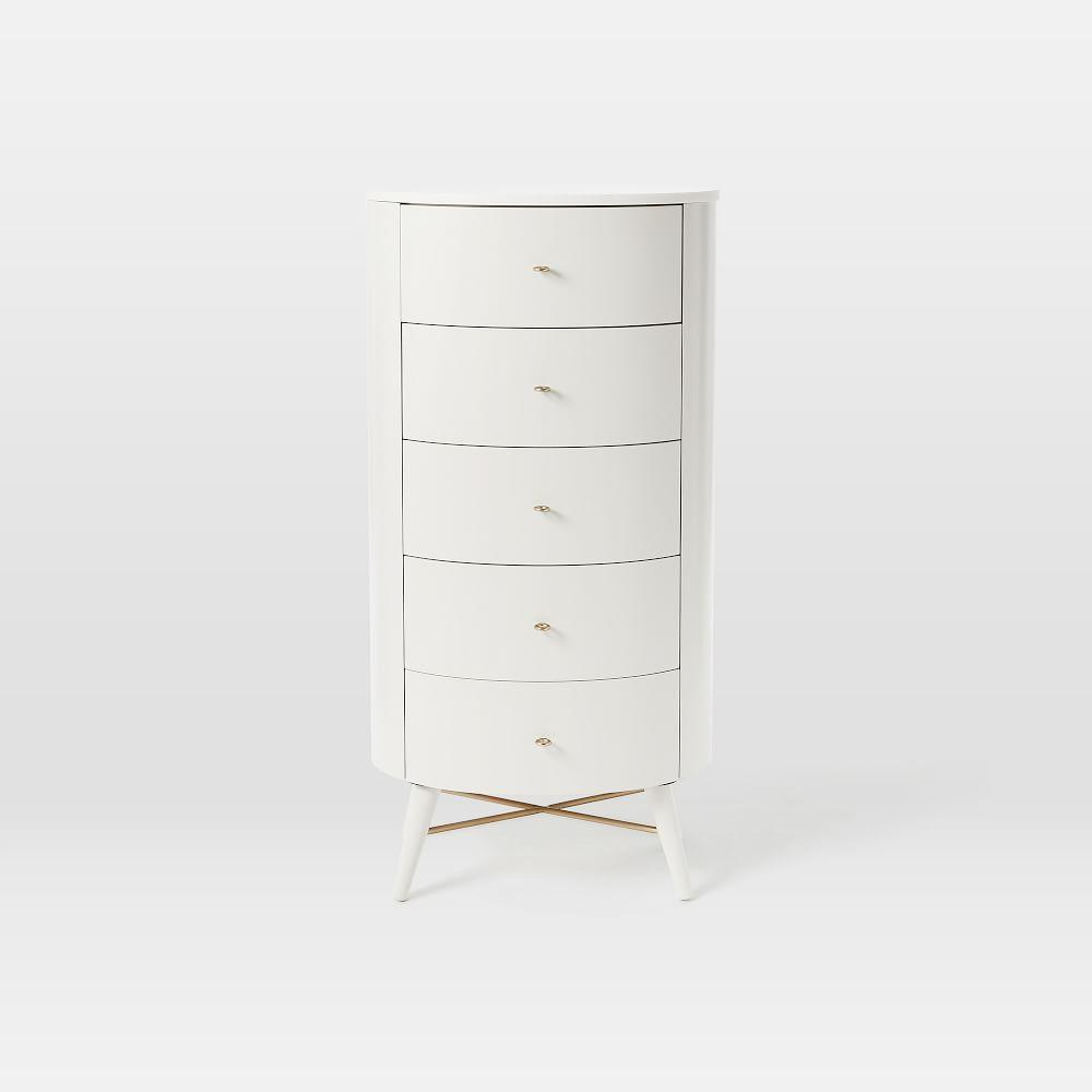Penelope Narrow 5-Drawer Chest - Oyster w/ Marble Top