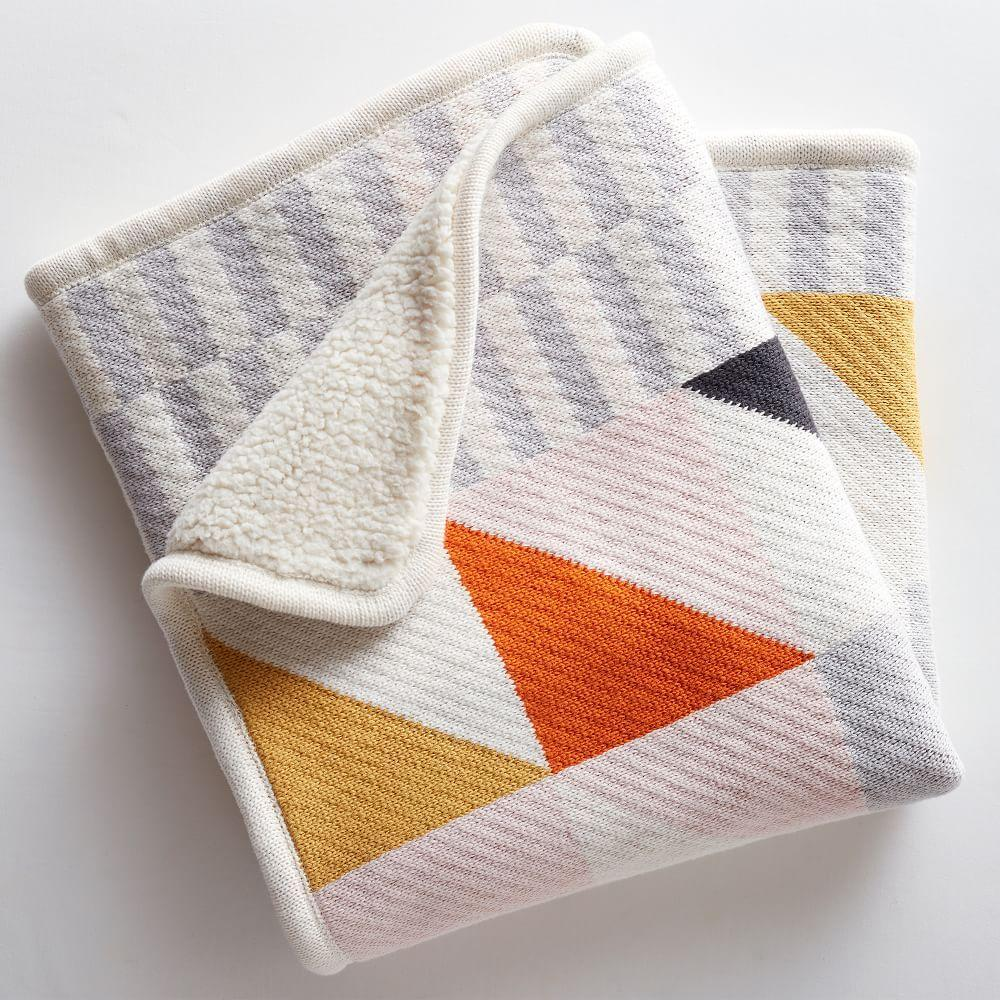 Knit Cotton Baby Blanket - Squares