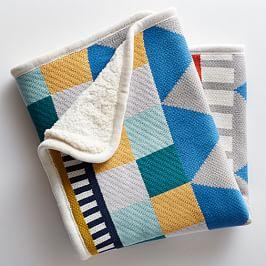 Knit Cotton Baby Blanket - Geometric
