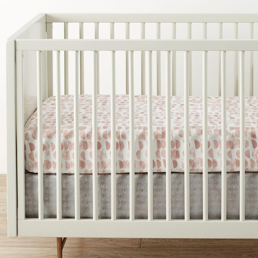 Organic Half Moon Cot Fitted Sheet - Rosette