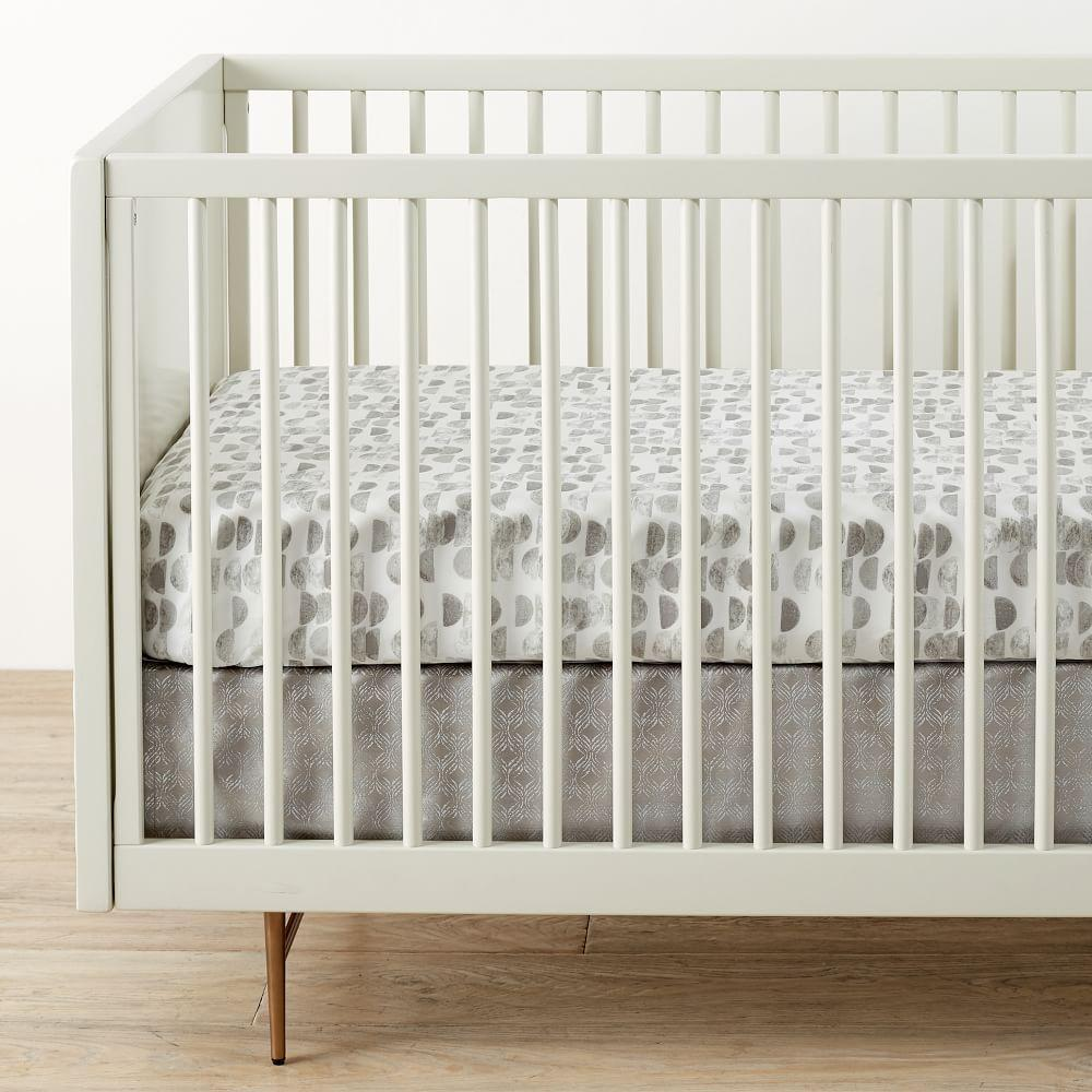 Organic Half Moon Cot Fitted Sheet - Platinum