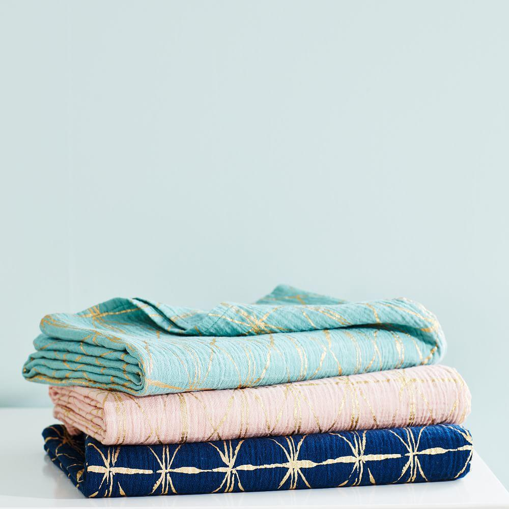 Metallic Print Muslin Swaddle Set - (Set of Three)