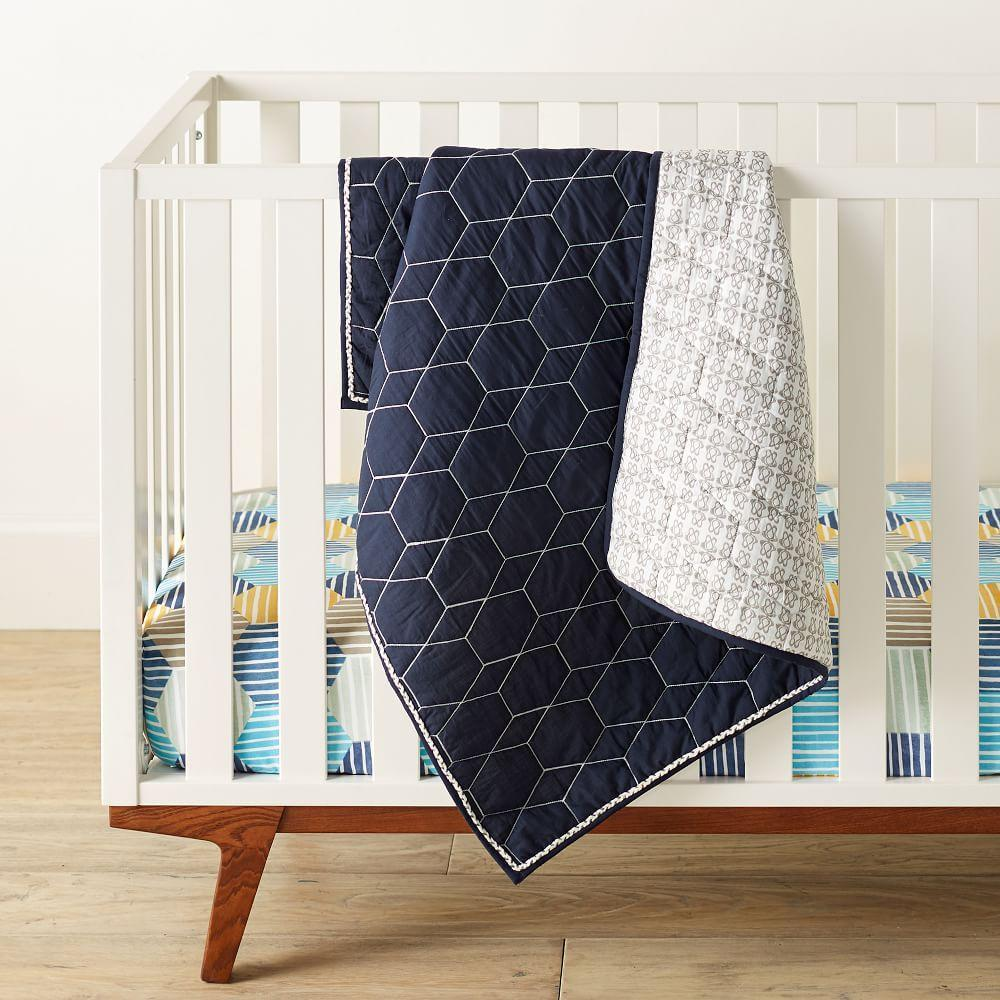 Organic Striped Geo Crib Fitted Sheet