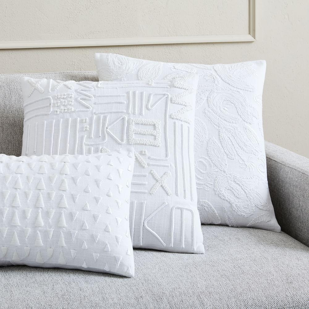 Embroidered White Cushion Covers West Elm United Kingdom