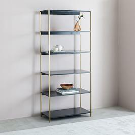 Zane Wide Bookshelf - Grey