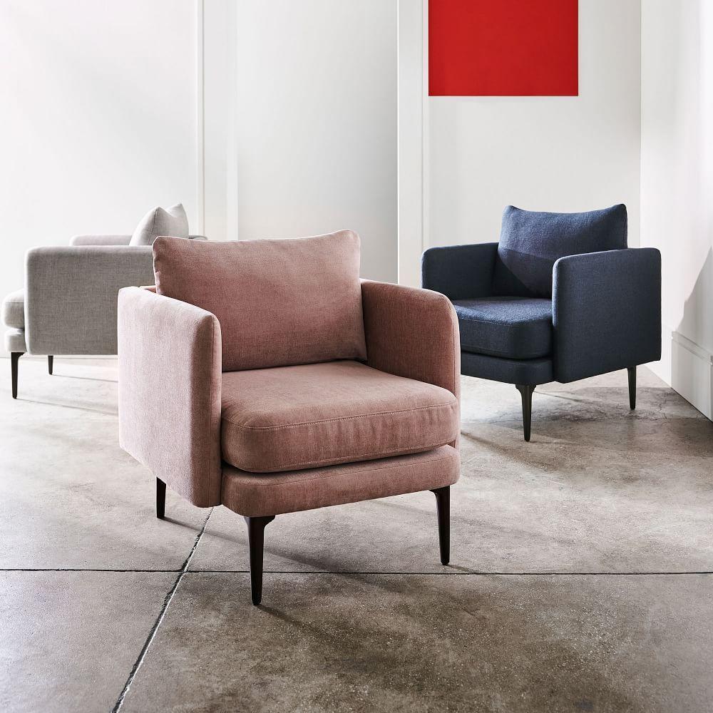 Auburn Chair Light Pink Distressed Velvet West Elm Uk