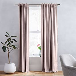 Cotton Lustre Velvet Curtain + Blackout Lining - Dusty Blush