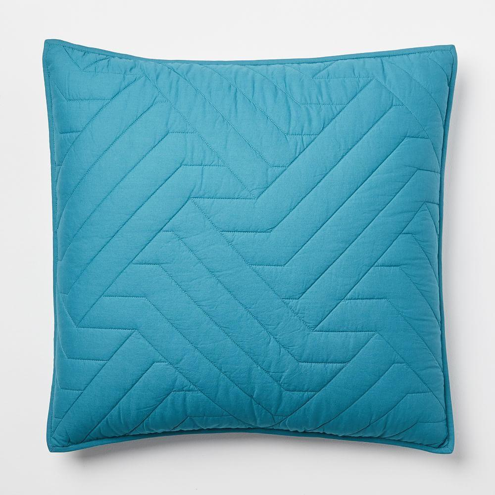 Organic Deco Bedspread + Pillowcases - Blue Teal