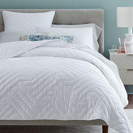 Organic Deco Bedspread + Pillowcases - White