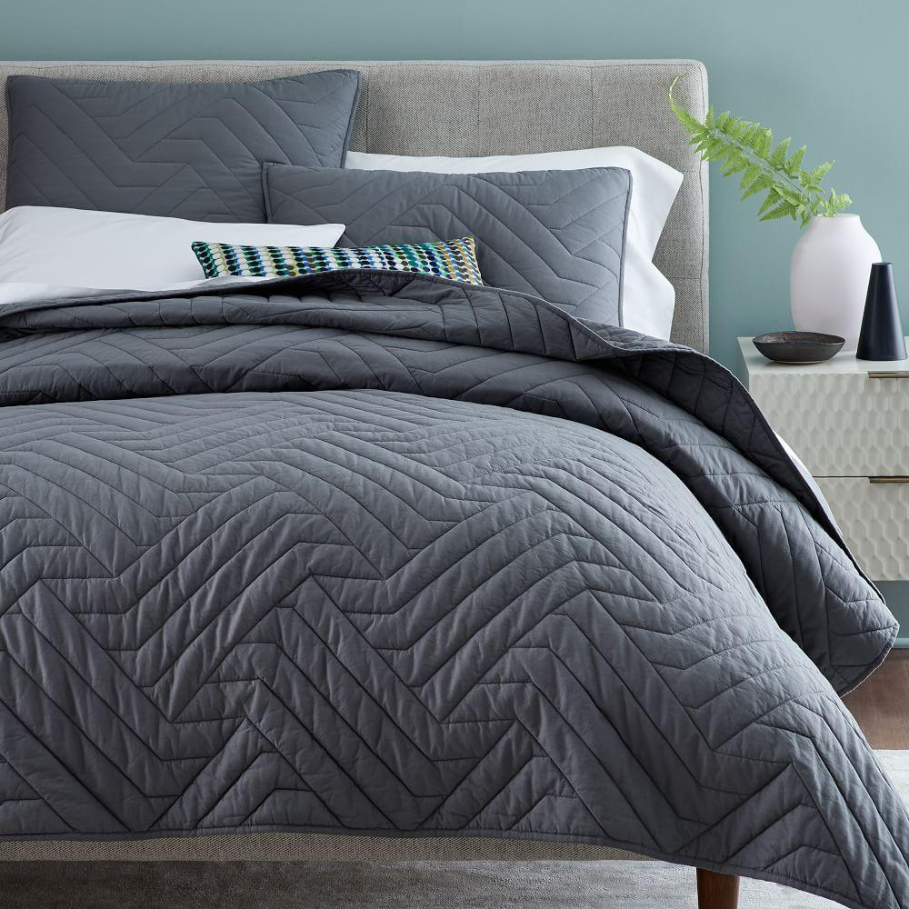 Organic Deco Bedspread + Pillowcases - Pewter