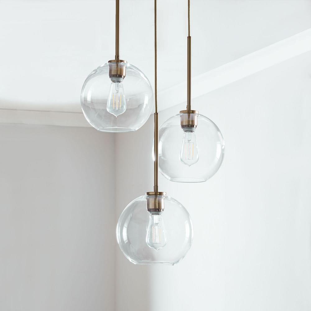 Sculptural Glass Globe 3-Light Chandelier - Small (Clear)