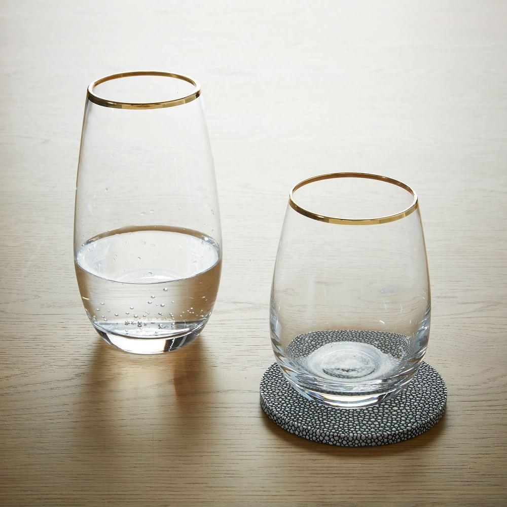 Stemless Glassware - Gold Rimmed