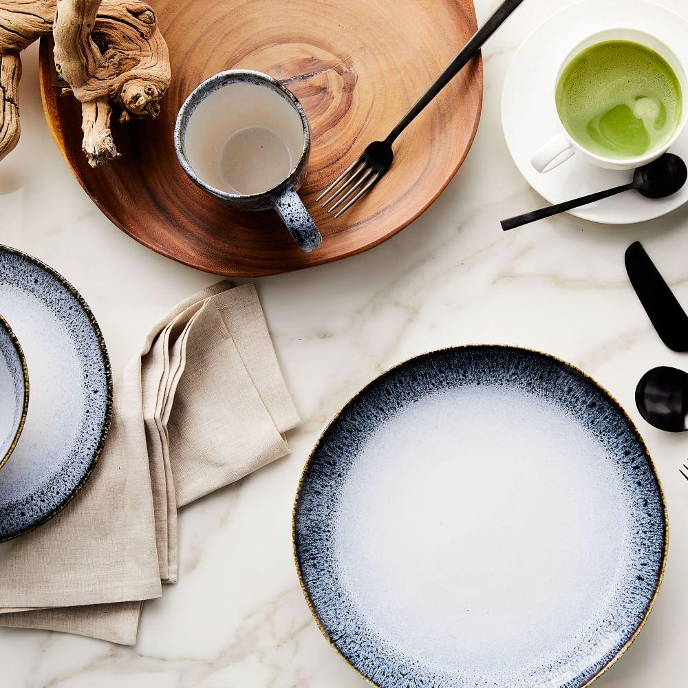 Reactive Glaze Dinnerware Set - Black/White