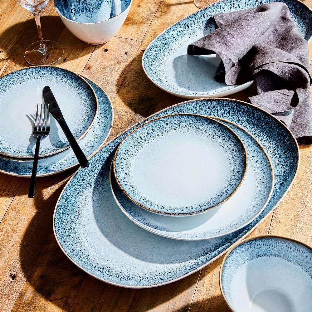 reactive glaze dinnerware set black white west elm uk. Black Bedroom Furniture Sets. Home Design Ideas